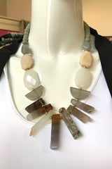 Gemstone Bar Bead Necklace