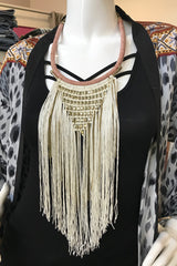 Tassel Bead Statement Necklace- Ivory