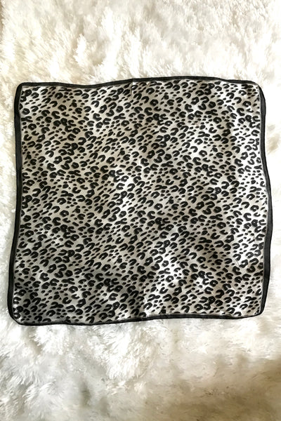 Black and Grey Leopard Scarf