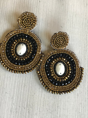 Large Beaded Double Circle Earrings