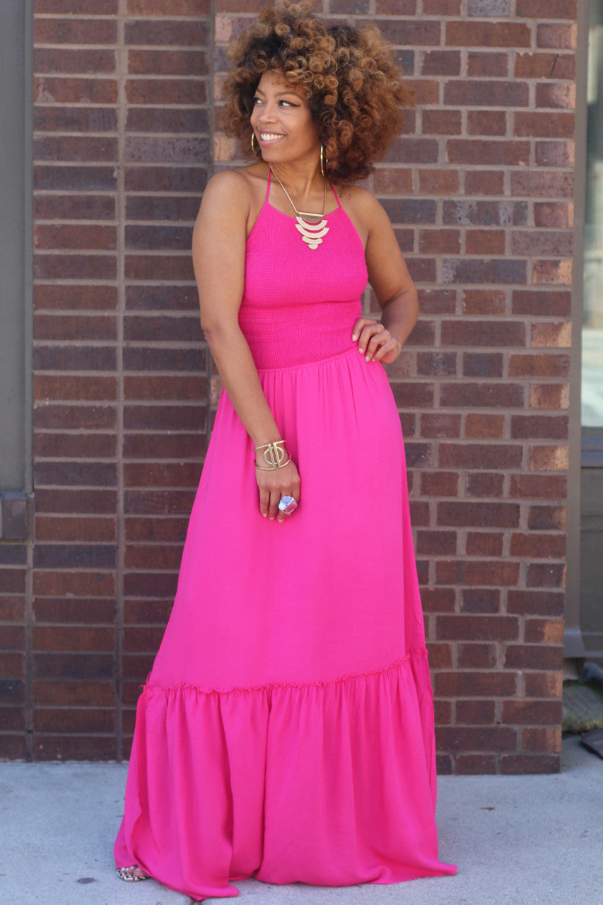 Lace Up Halter Maxi Dress