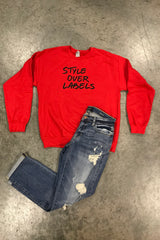 Custom Style Over Labels Sweatshirt -Red