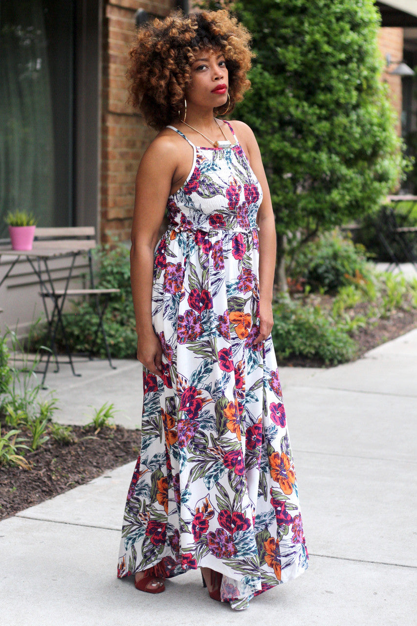 Rushed Floral Dress