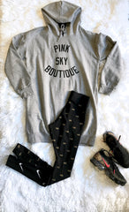Cruvie/Pink Sky Hoodie Tunic Dress -Grey