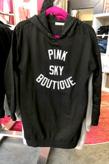 Cruvie/Pink Sky Hoodie Tunic Dress -Black