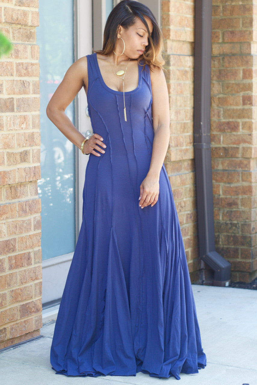Exposed Seam Tank Maxi Dress