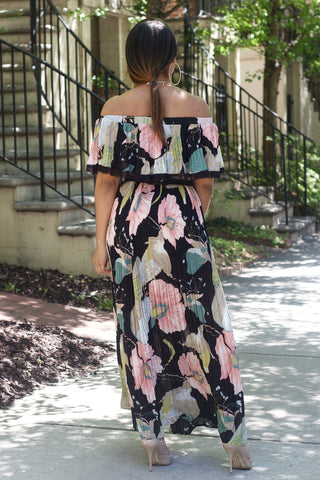 Off Shoulder Pleat Floral Dress