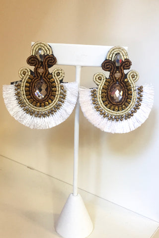 Festive Fan Tassel Earrings- White