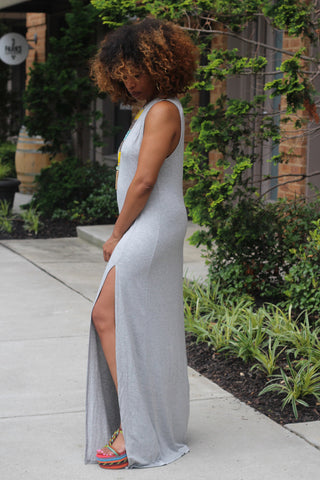 Double Split Cut Out Maxi Dress-Grey