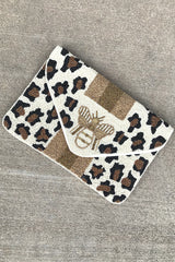 Bee & Leopard Beaded Clutch