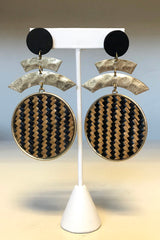 Woven Disc Curved Bar Earrings