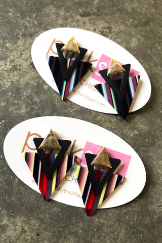 Stripe Triangle Post Earrings