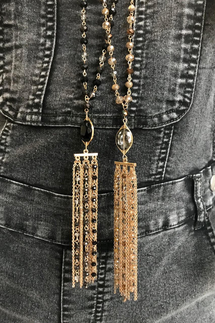 Bead Fringe Drop Necklace