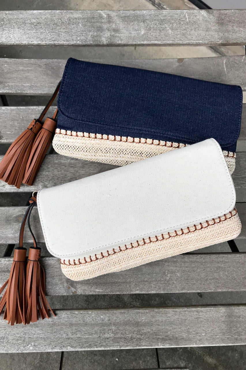 Denim Straw Flap Clutch
