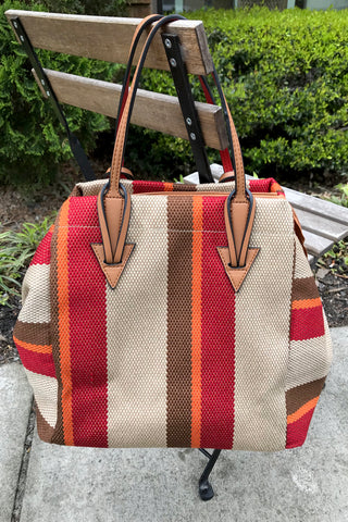 Stripe Convertible Tote
