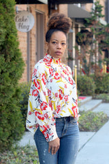 Pleat Floral Mock Neck Top