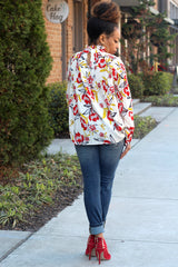 Floral Pleat Mock Neck Top
