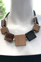 Stripe Square Wood Bead Necklace