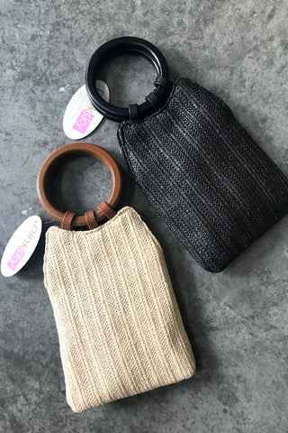 Circle Handle Rectangle Clutch