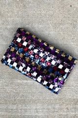 Check Sequin Envelope Clutch