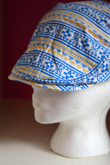 Pink Sky Boutique Ivy Cap Blue Gold Tribal Print Close Front