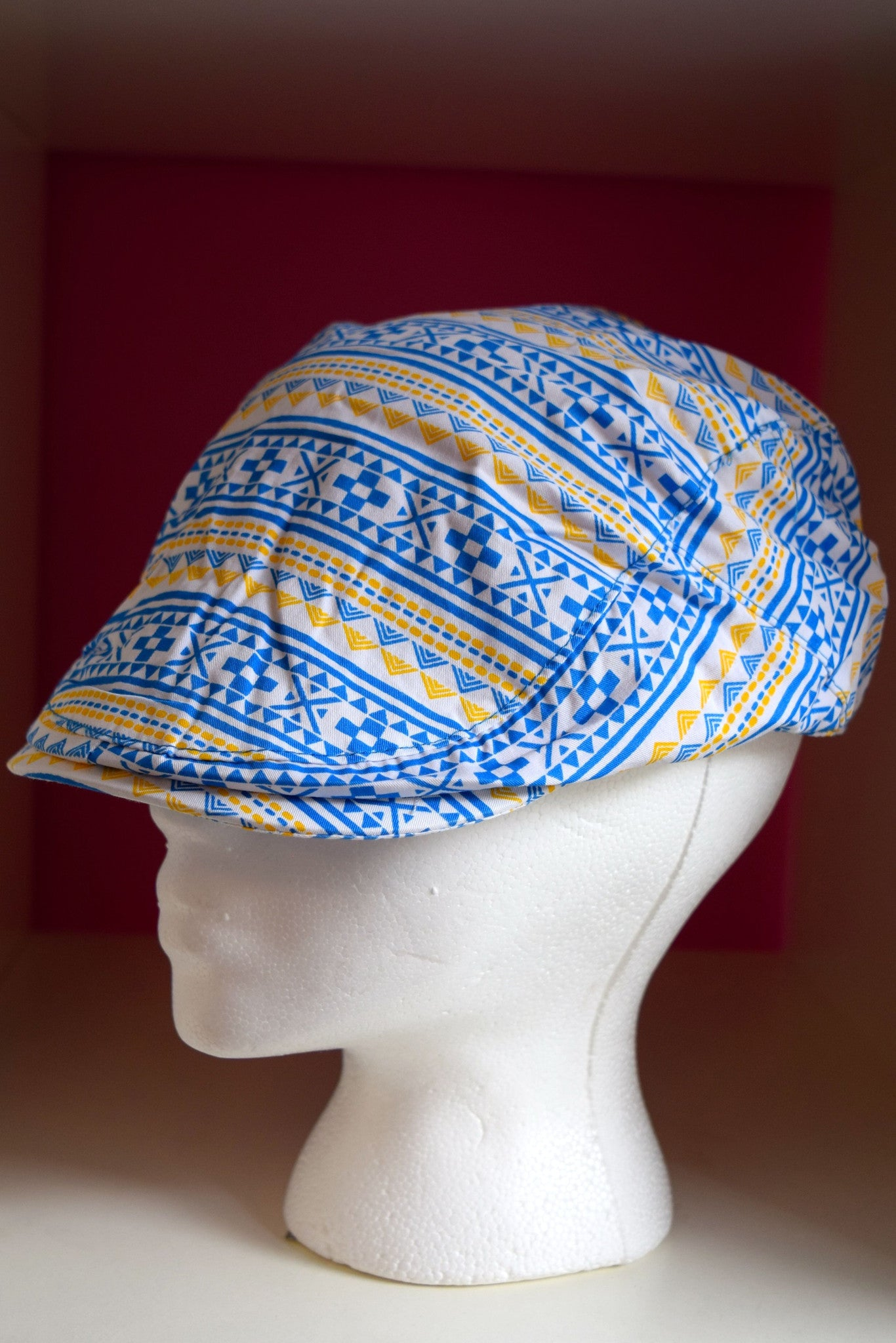 Pink Sky Boutique Ivy Cap Blue Gold Tribal Print Front