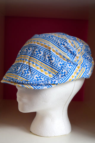Ivy Cap-Blue & Gold Tribal Print