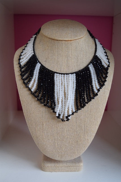 Stripe Bead Bib Necklace