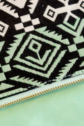 Mint & Black Tribal Clutch