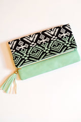 Pink Sy Boutique Mint & Black Tribal Clutch