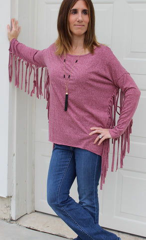 Fringe Is In Mauve Top