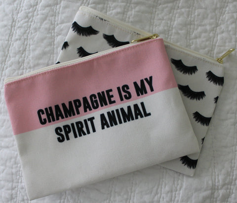 Champagne Is My Spirit Animal Makeup Pouch