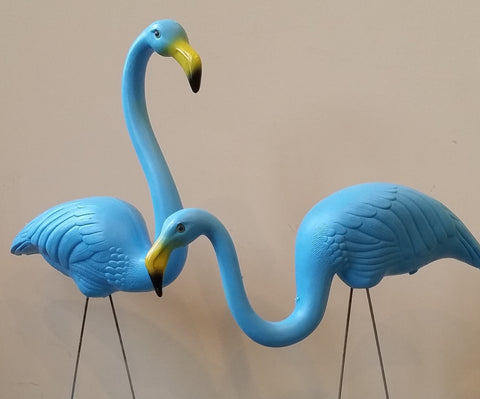 One Pair of Teal Flamingos