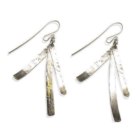 Sterling and Gold Fan Earrings