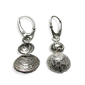 Sterling silver earrings with two circular discs, tactile and elegant.
