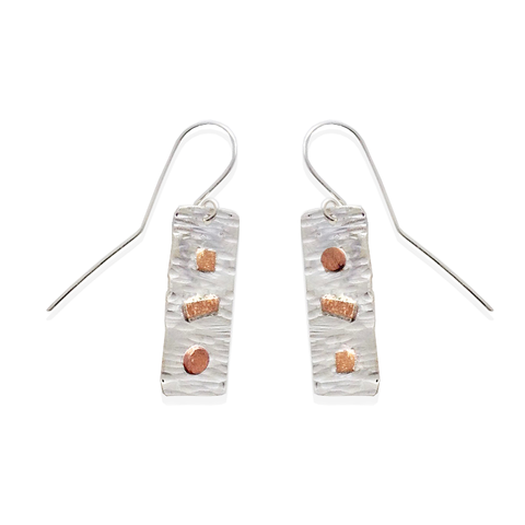 Sterling and copper mosaic earrings