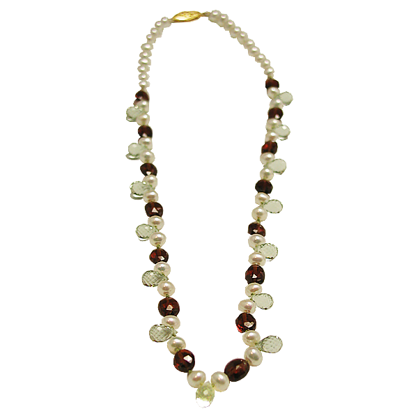 Potate shaped white pearls with oval red garnets and tear shaped green amethysts.