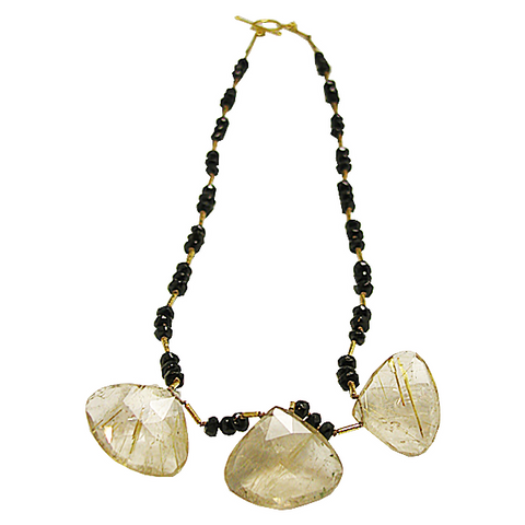 Three Rutiliated Gold Quartz necklace