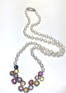 Fall colored spinels with white texture potato shaped pearls