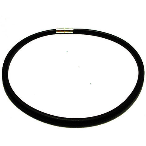 SKU900 Black Rubber Collar with Sterling Safety Clasp