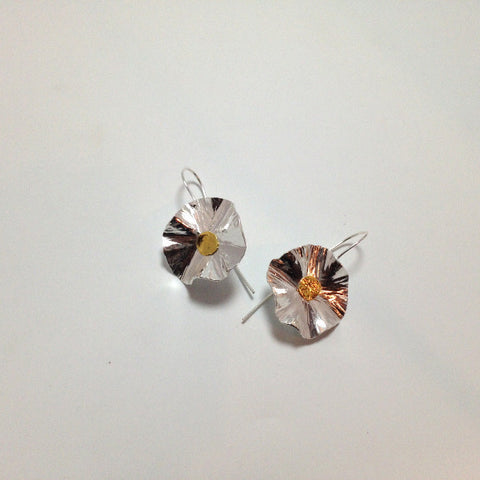 EL140E Sterling and 14K Lily Pad Earrings
