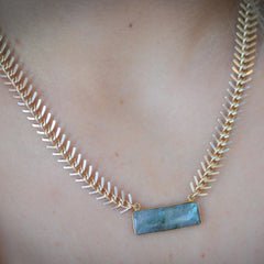 WYSH Collective Labradorite Fishbone Necklace