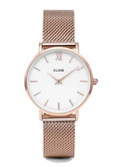 Cluse Minuit Rose Gold Mesh Watch