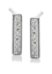 Melanie Auld Pave Bar Stud Earrings, Available in Silver and Gold