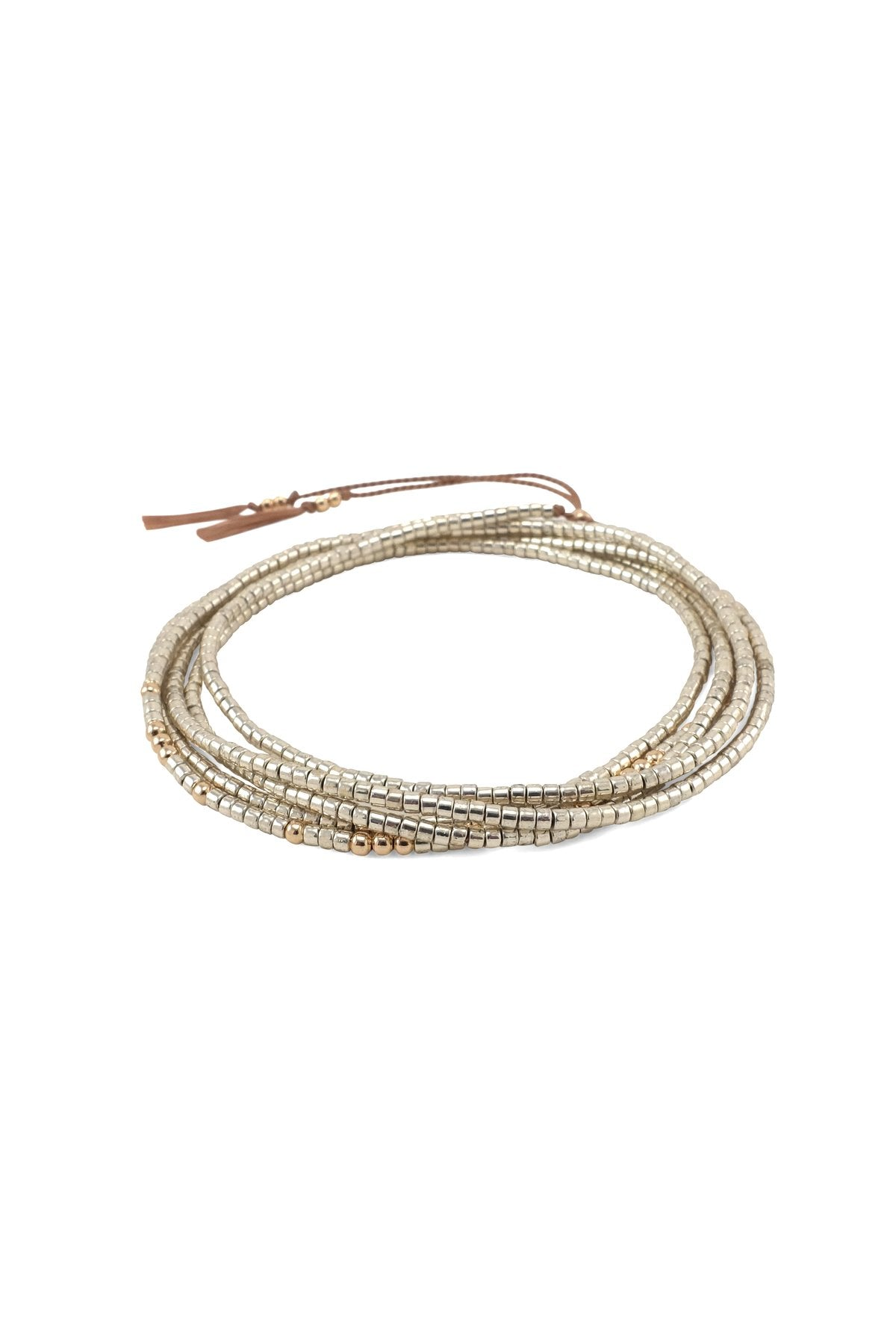 Abacus Row Gobi Wrap Bracelet Necklace Silver