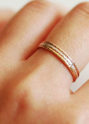 Delicate minimalist Glimmer stacking rings