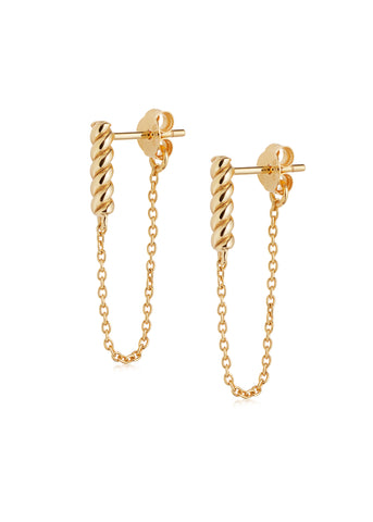 Daisy London  |  Stacked Rope and Chain Drop Earrings, Gold