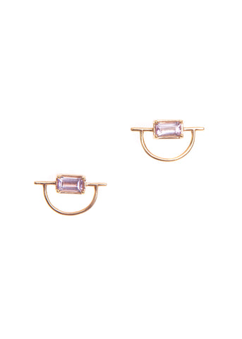 Hailey Gerrits  |  Horizon Stud Earrings, Pink Amethyst