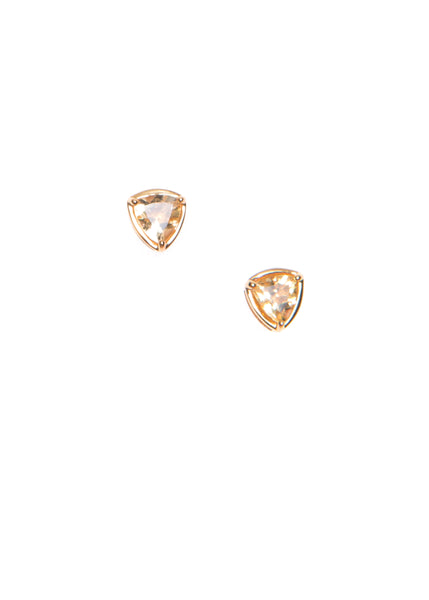 Hailey Gerrits Trillion stud earrings citrine gemstone classic sparkle