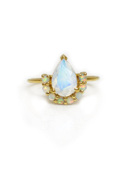 La Kaiser Ballerina Opal and Moonstone Ring Eye Catching and Statement